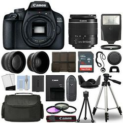 Canon EOS 4000D / Rebel T100 SLR Camera + 3 Lens Kit 18-55mm+ 16GB+ Flash & More for Sale in Stickney,  IL