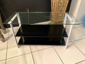 "MODERN GLASS CONSOLE TABLE (3 glass tiers) 41"" long x 17.5 wide for Sale in Miami, FL"