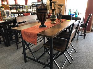 Walnut brown finish 4 piece counter height dining table set for Sale in Irving, TX