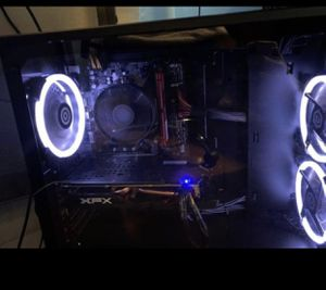 Like new gaming PC with 2 monitors and keyboard that lights up and curved desk for Sale in Boynton Beach, FL