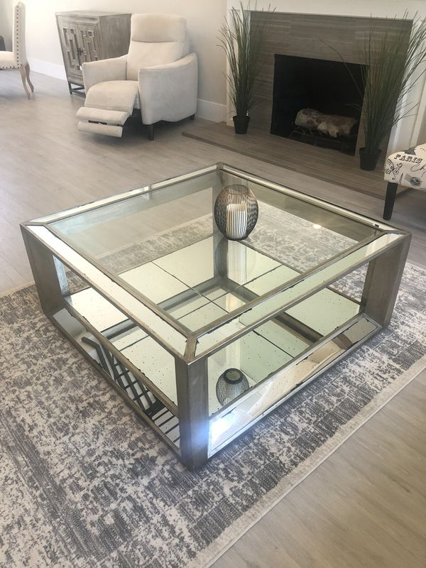 Z Gallerie Pascual Coffee Table Glass Mirror For Sale In