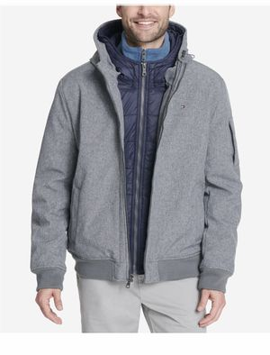 Tommy Hilfiger Men's US XL Hooded Bomber Jacket With Bib Heather Grey 158AP223 for Sale in French Creek, WV