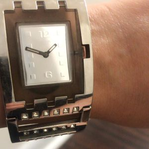 Used Swatch beautiful silver watch with crystals. for Sale in Alexandria, VA