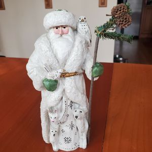 "P. Schifferl Santa 8"" Figurine Holds Bird With Owl, Dogs And Rabbit Made by Midwest Of Cannon for Sale in Duluth, GA"