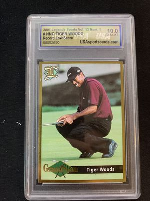 2001 LEGENDS VOL. 13 NNO TIGER WOODS GEM MINT 10 - 4 MAJOR CHAMPIONSHIP RECORD - USA GRADED for Sale in Roanoke, VA