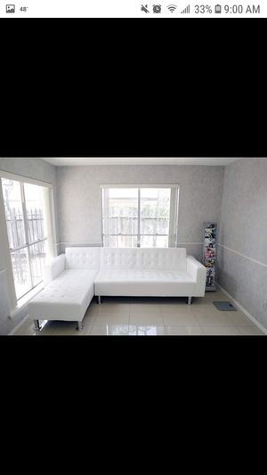 New white leather reversible sectional futon for Sale in Austin, TX