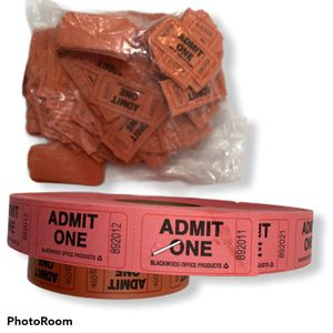 Lot 2 Admit One Ticket Roll Pink Red Carnival Fair for Sale in Princeton, NJ