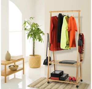 Bamboo Clothes Rack on Wheels Rolling Garment Rack with 2-Tier Storage Shelves and 4 Coat Hooks for Sale in Everett, WA