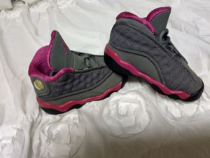 Baby Air Jordans Retro 13 pink and grey size 5 for Sale in Tacoma, WA