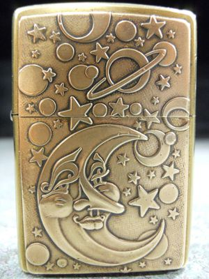 Zippo Galaxy Lighter Solid Brass Stars Moon Face Planets Space F 2001 Used for Sale in San Fernando, CA