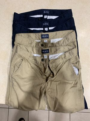 Boys Children's Place chino uniform pants Colors: 3 Khaki, 2 Navy Blue, 1 Black Size: 10 All 6 pants for $30 Pick up only 77090 area No Trades for Sale in Houston, TX