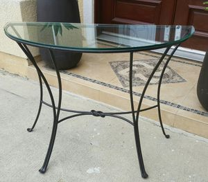 Half Round Buffet Entry Console Display Metal & Glass Table for Sale in Monterey Park, CA