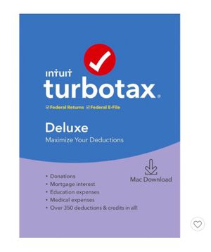 Software Download for 2019 TurboTax Deluxe for Mac for Sale in Watauga, TX