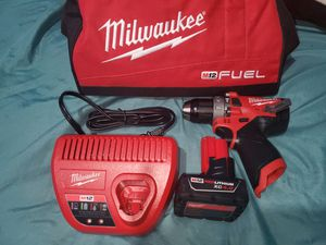 Milwaukee Fuel M12 Gen 2 Hammer Drill with 4.0 Battery Charger and Contractor for Sale in Fresno, CA