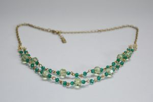 1928 Gold Tone Necklace Green Beads Double Chain for Sale in Chicago, IL