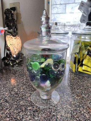 9 inch iridescent apothecary jar w/ colored stones and seashells@67th Ave and Thomas for Sale in Phoenix, AZ