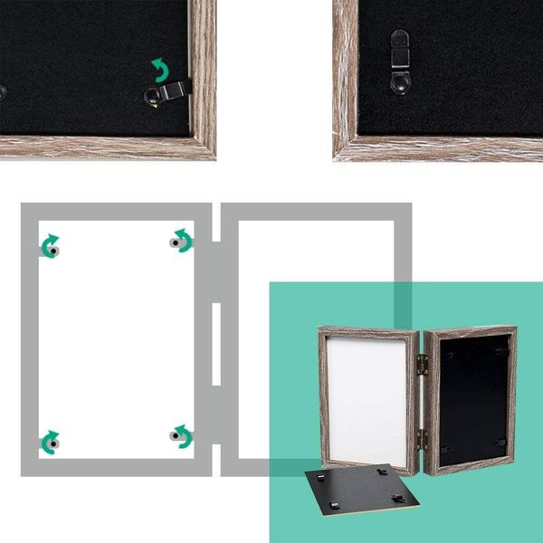 Wood Photo Frame Shadow Box 4x6 Hinged Double Picture Frames,Glass Front,Fit for Stands Vertically