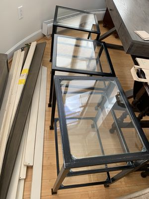 Heavy metal (iron?) and glass set side end accent tables black for Sale in Arlington, VA