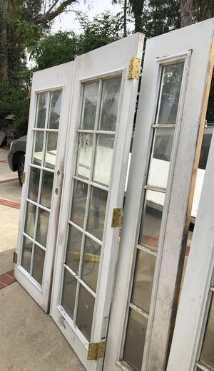 French doors need thx painting as is 4 panels for Sale in Rancho Cucamonga, CA