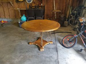Solid oak/rod iron - dining/kitchen table & four chairs for Sale in Cleveland, OH