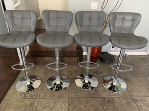 Brand new set of 4 grey bar stools (jet) / gray bar stools / gray pub stools (height adjustable and swivel) for Sale in Helotes, TX