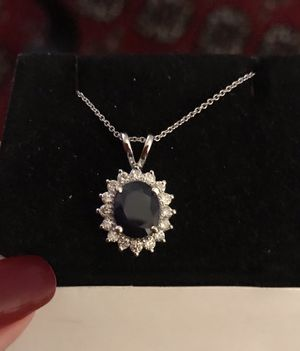 3.7 carat Sapphire & Diamond pendant SALE14k solid white gold. for Sale in Beverly Hills, CA