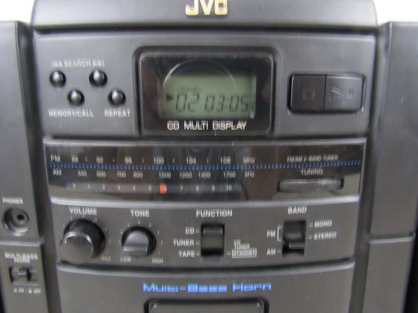 JVC PC-X55 Portable AM/FM Stereo CD/Cassette Player-Detachable Speakers