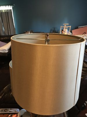 Matching pair large silk lamp shades gold for Sale in Brentwood, TN