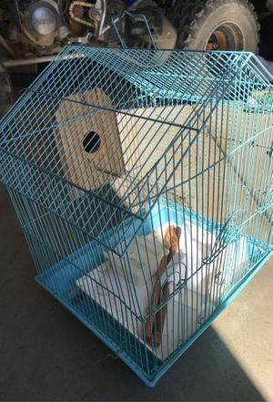 Blue bird cage with bird nesting box and everything you need! for Sale in Perris, CA