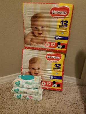 Huggies size 2 and 3wipes for Sale in Plano, TX