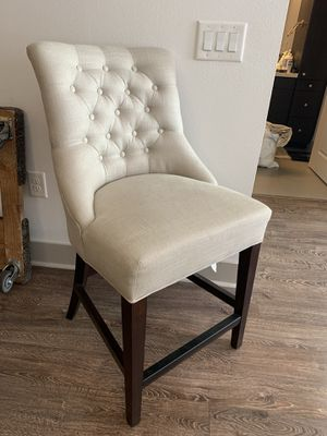Pottery Barn Hayes Upholstered Tufted Counter Height Bar Stool, Gray Wash Frame, Brushed Canvas Stone for Sale in Los Angeles, CA