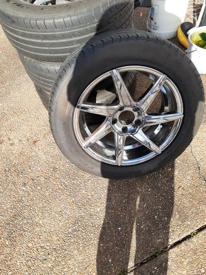 4 17 inch lexani chrome rims and new tires barely any miles for Sale in Nashville, TN
