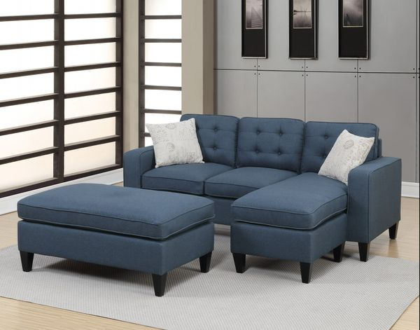 Brand New Blue Linen Sectional Sofa Couch + Ottoman