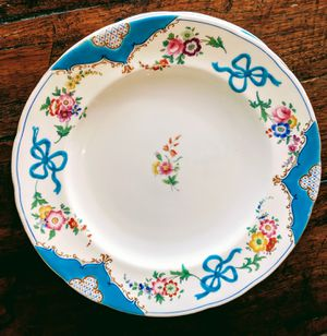 Antique French old Paris hand painted with turquoise enameled porcelain dinner plates for Sale in Gig Harbor, WA