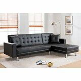 Black pu Sectional and sleeper (New) for Sale in Hayward, CA