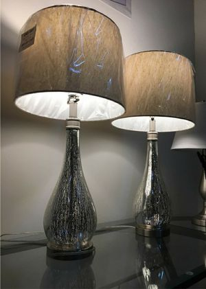 "New in box 2 pack stylecraft mercury glass table elegant 29"" tall table lamps with natural shade lamp for Sale in Whittier, CA"
