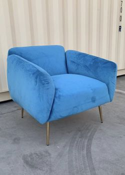 NEW Velvet 33x32x31 Inch Tall Sofa Chair Light Blue Thick Cushion with Steel Gold Color Legs living room bedroom furniture for Sale in Covina,  CA