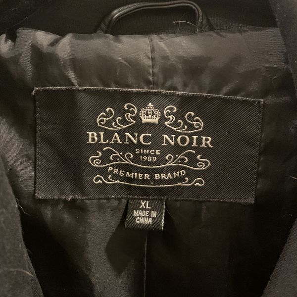 Blanc Noir Black Quilted Faux Leather Knit Jacket (Women's XL)