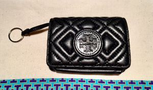 Tory Burch Black Quilted Leather Marion Small Keychain Wallet for Sale in Sebastian, FL