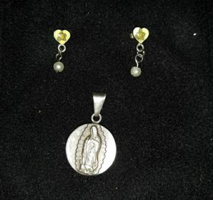 Vintage PPC 925 Sterling silver and resin Lady of Guadalupe Charm w/matching Earrings for Sale in Dallas, TX