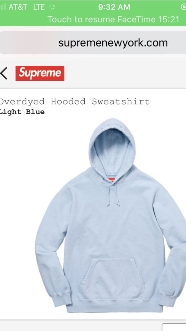 1c8c2efb54c8 Supreme overdyed hooded sweatshirt SS18 light blue for Sale in Tempe ...