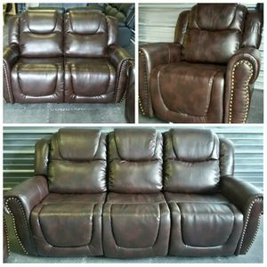 Brand New Brown Leather 3pc Reclining Set With A Nail Head Trim for Sale in Puyallup, WA