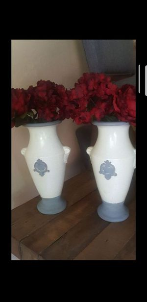 Set of 2 White/gray vases with red flowers for Sale in Surprise, AZ