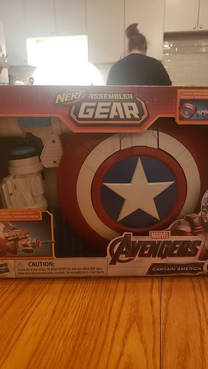 Brand new in box marvel captain America nerf gun with sheld for Sale in Cleveland, OH