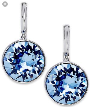 Swarovski Blue Bella Pierced Earrings - this pair of rhodium-plated pierced earrings sparkles with a large, bezel-set, blue diamond crystal for Sale in Austin, TX