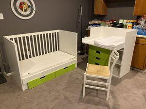 IKEA baby room set crib and changing table with drawers for Sale in Renton, WA