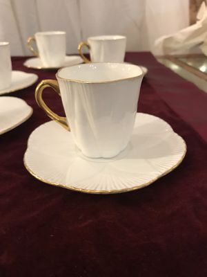 Shelley white with gold detailing fine bone china demitasse cups and saucers (set of 7) for Sale in Seattle, WA