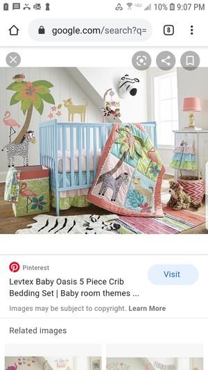 Levtex baby crib bedding, 5 pc oasis for Sale in Silver Spring, MD