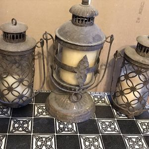 Set of Three (3) Rustic Candle Holder Lanterns for Sale in Aurora, CO