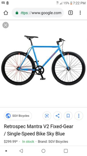 Retrospec Mantra V2 Fixed-Gear / Single-Speed Bike Sky Blue for Sale in Dallas, TX